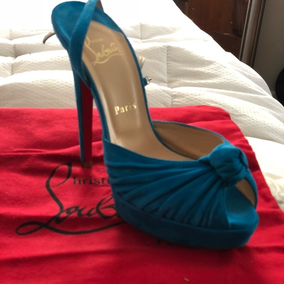 b445a352d Christian Louboutin Shoes - Christian Loubotin Blue Suede Knotted Mule